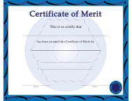 """Blue Certificate of Merit Template"""