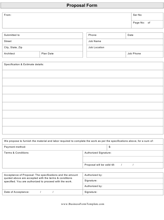 Proposal Template for Furnishing Material and Labor Download Pdf