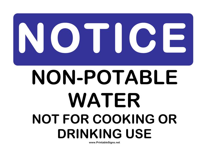 """Non-potable Notice Sign Template"" Download Pdf"