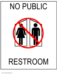 """No Public Restroom Sign Template"""