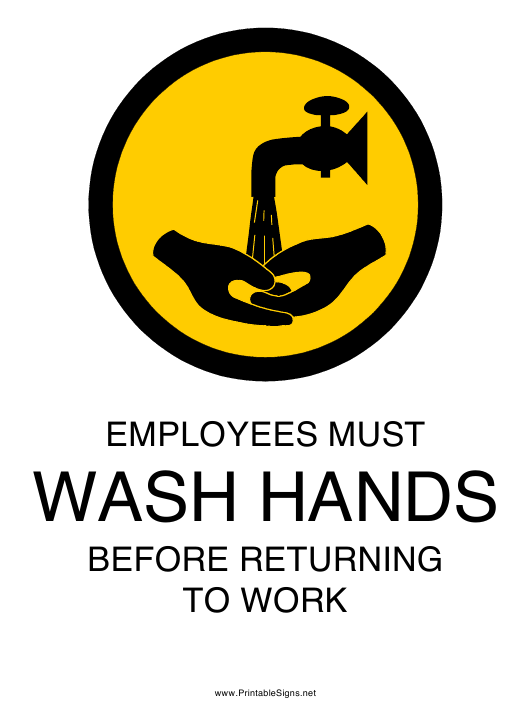"""""""Employees Must Wash Hands Sign Template"""" Download Pdf"""