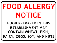 """Food Allergy Notice Warning Sign Template"""