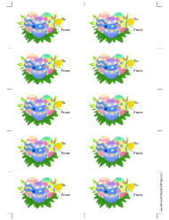 Easter Eggs Gift Tag Template - White Background