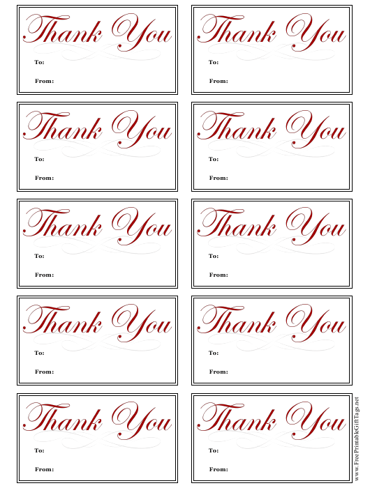 """Thank You Gift Tag Template"" Download Pdf"