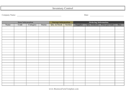 """Inventory Control Spreadsheet Template"" Download Pdf"