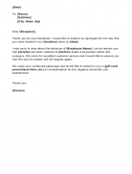 Apology Letter Template For Employees