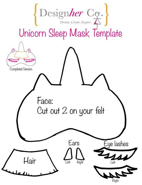 """""""Unicorn Eye Sleep Mask Template"""" Download Pdf"""