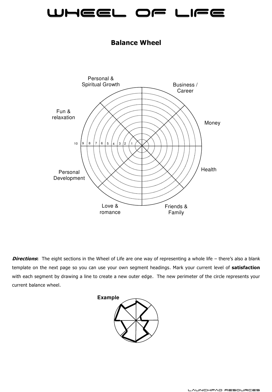 Wheel Of Life Template Download Printable Pdf Templateroller
