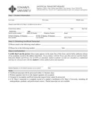 Unofficial Transcript Request Form - St.mary's University - San Antonio, Texas