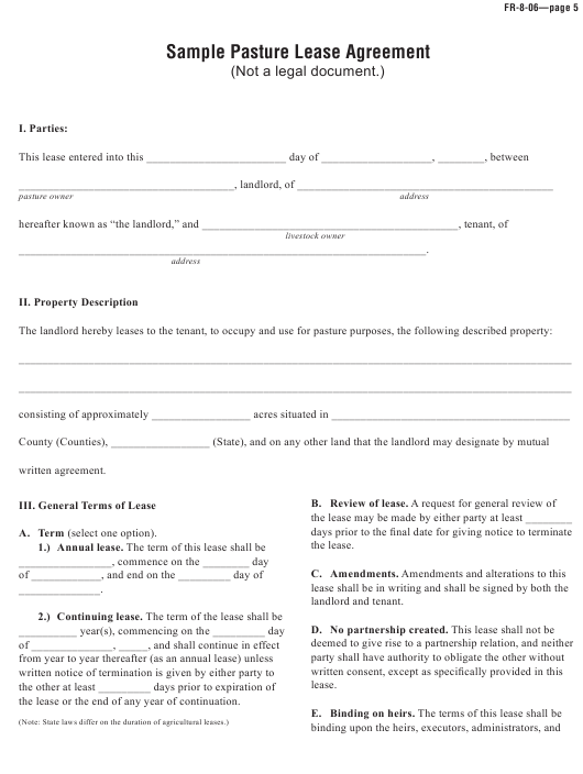 Pasture Lease Agreement Template Download Printable Pdf Templateroller