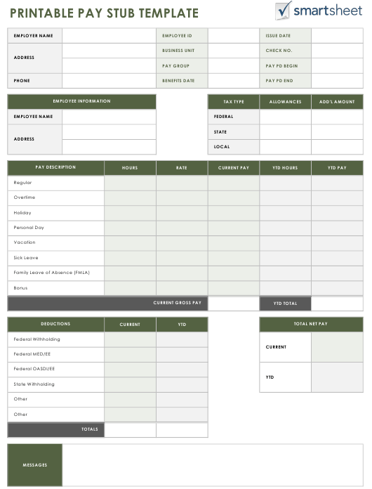 Employee Pay Stub Template - Smartsheet Download Fillable