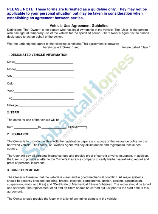 Vehicle Use Agreement Template Sabbaticalhomes
