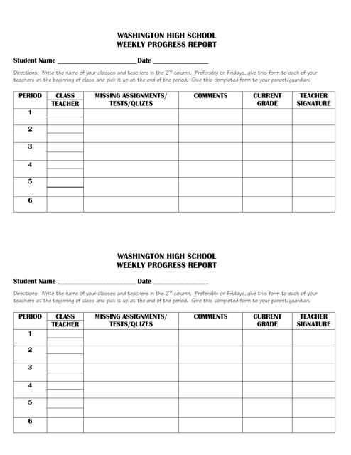 Weekly Progress Report Template - Washington High School - Washington Download Pdf