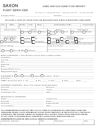 Used Vehicle Condition Report Template - Saxon Fleet Services