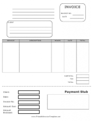 Invoice Template With Payment Stub