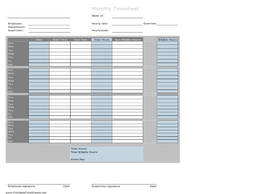 Monthly Billable Hours Timesheet Template Download Printable
