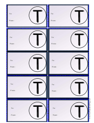 Monogram T Gift Tag Template