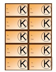 Monogram K Gift Tag Template