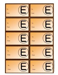 Monogram E Gift Tag Template