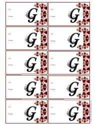Monogram G Gift Tag Template