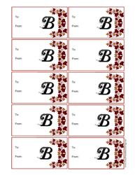 Monogram B Script Gift Tag Template