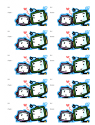 Robots in Love Gift Tag Template