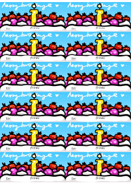Form N/S Birthday Candle Gift Tag Template