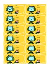 Birthday Robot Gift Tag Template