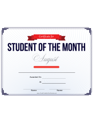Student Of The Month Award Certificate Template - August