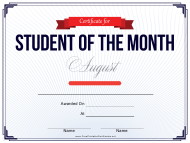 """Student of the Month Award Certificate Template - August"""