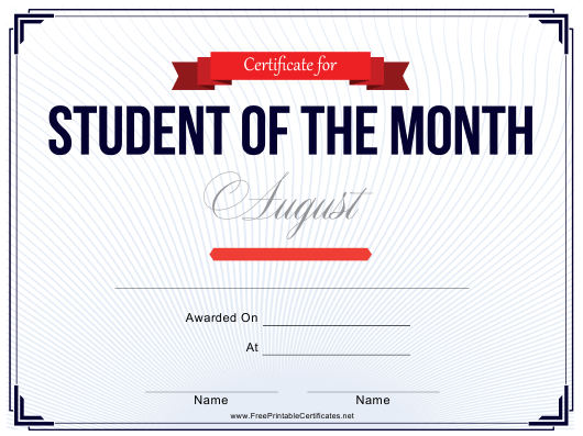 """""""Student of the Month Award Certificate Template - August"""" Download Pdf"""