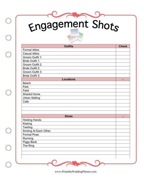 Engagement Shots Planner Template Download Pdf