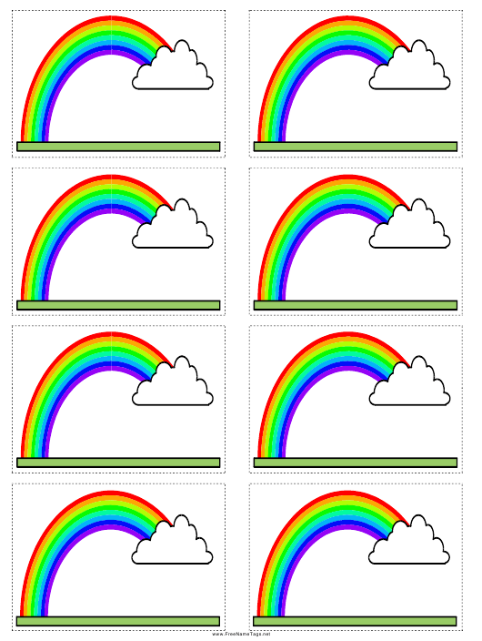 Name Tag Template - Rainbow With Cloud Download Printable PDF