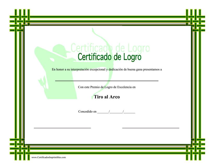 """Certificado De Logro - Tiro Al Arco"" (Spanish) Download Pdf"