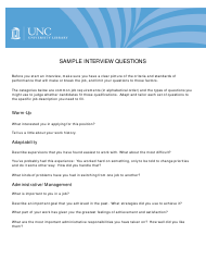 Sample Interview Questions - Unc