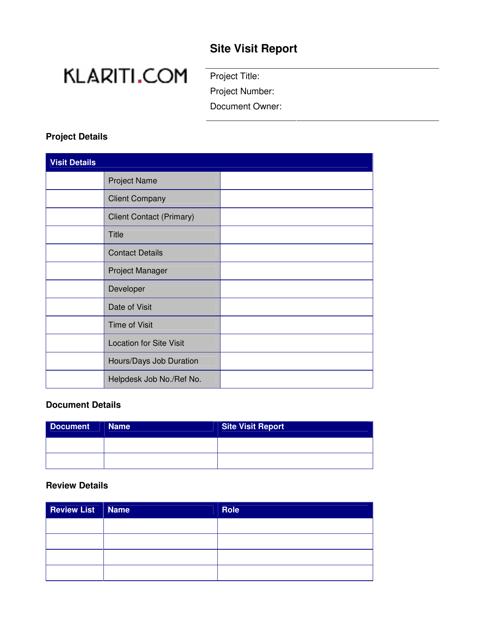 site visit report template