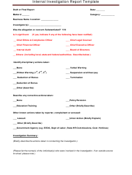 """Internal Investigation Report Template"""