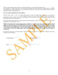 Self Storage Space Rental Agreement