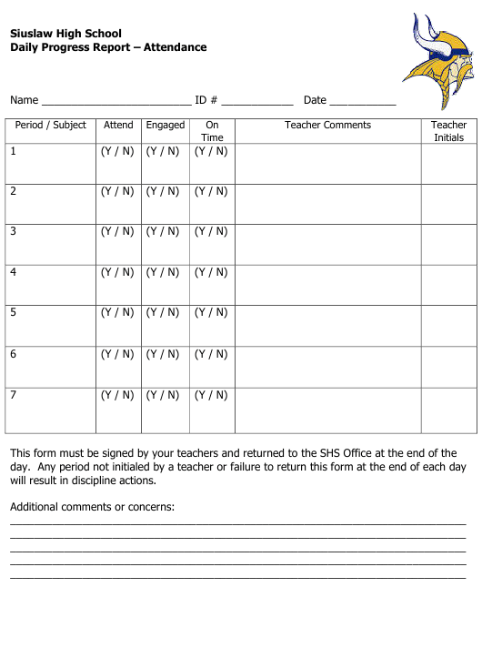 """Daily Progress Report Template - Attendance - Siuslaw High School"" - Oregon Download Pdf"