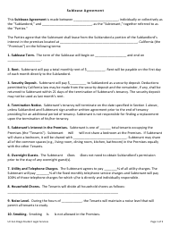 """Sublease Agreement Template - Uc San Diego Student Legal Services"" - San Diego, California"
