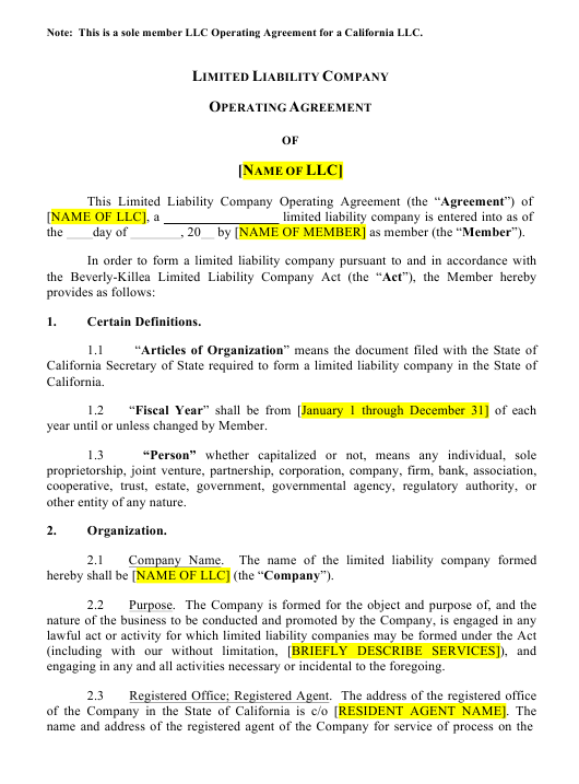 Llc Operating Agreement Template Download Printable Pdf Templateroller