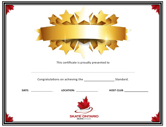 """Certificate of Achievement With Stars Template - Skate Ontario"" Download Pdf"