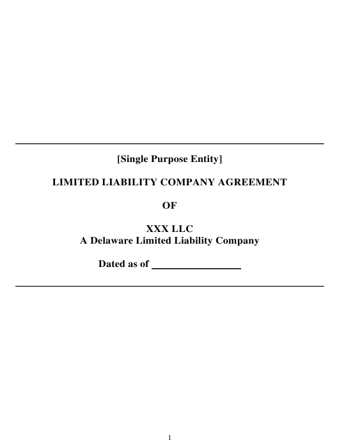 """LLC Agreement Form"" - Delaware Download Pdf"