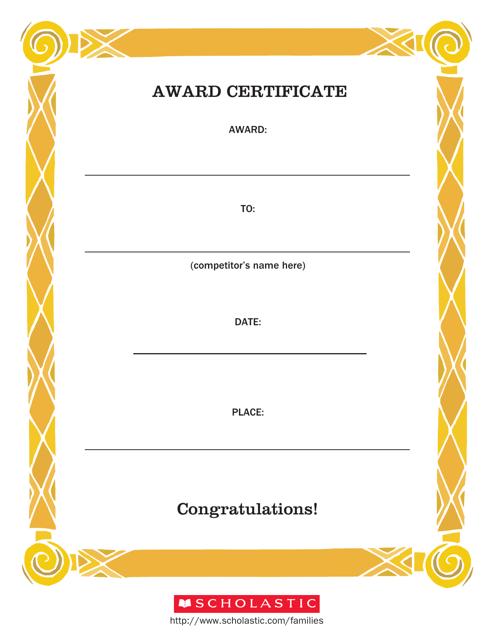 """Award Certificate Template"" Download Pdf"