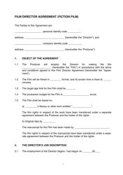 Film Director Agreement (Fiction Film) Template