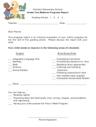Grade Two Midterm Progress Report Template - Dentzler Elementary School