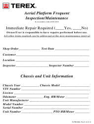 Aerial Platform Frequent Inspection/Maintenance Form - Terex