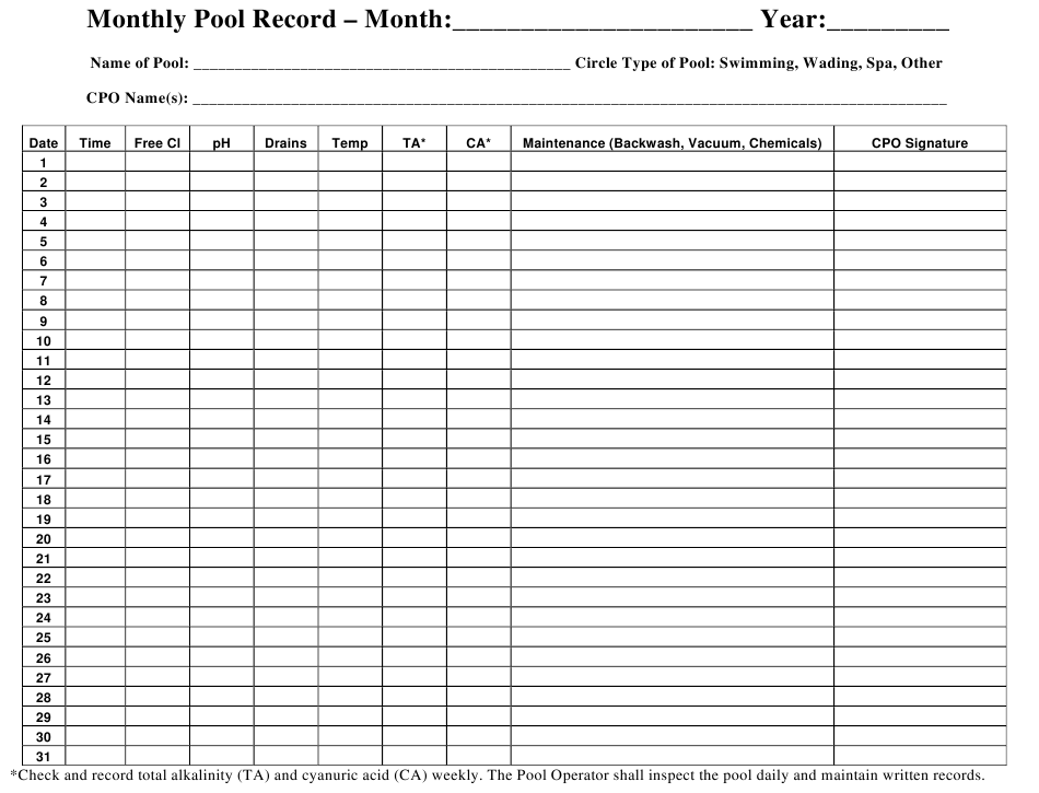"""Monthly Pool Record Chart Template"" Download Pdf"
