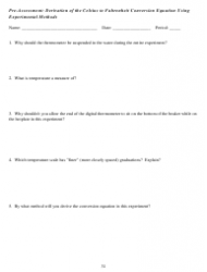 Derivation of the Celsius to Fahrenheit Conversion Equation Using Experimental Methods Pre-assessment Worksheet