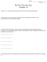 And Then There Were None Literature Worksheet